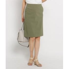 【INDIVI:スカート】[S]【ハンドウォッシュ/UV】リネン混ストレッチスカート