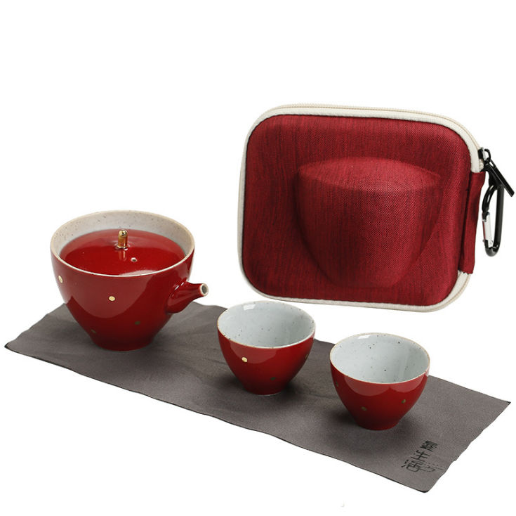 灑金旅行茶具4件組 茶壺 茶杯 附防撞收納盒 旅行茶組 攜帶式 一壺二杯 兩杯 粗陶 便攜 旅行茶具套裝