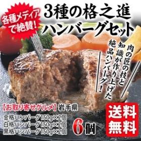 送料無料 3種の格之進ハンバーグセット 白金豚 黒毛和牛