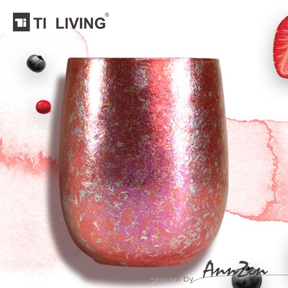 【AnnZen】《Ti-living》純鈦抗菌雙層杯-珊瑚粉