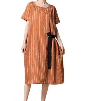 レディース ミディアム丈 半袖 ドレス ワンピース スイングドレス シンプル カジュアル 春夏 結婚式 お出かけ 普段着