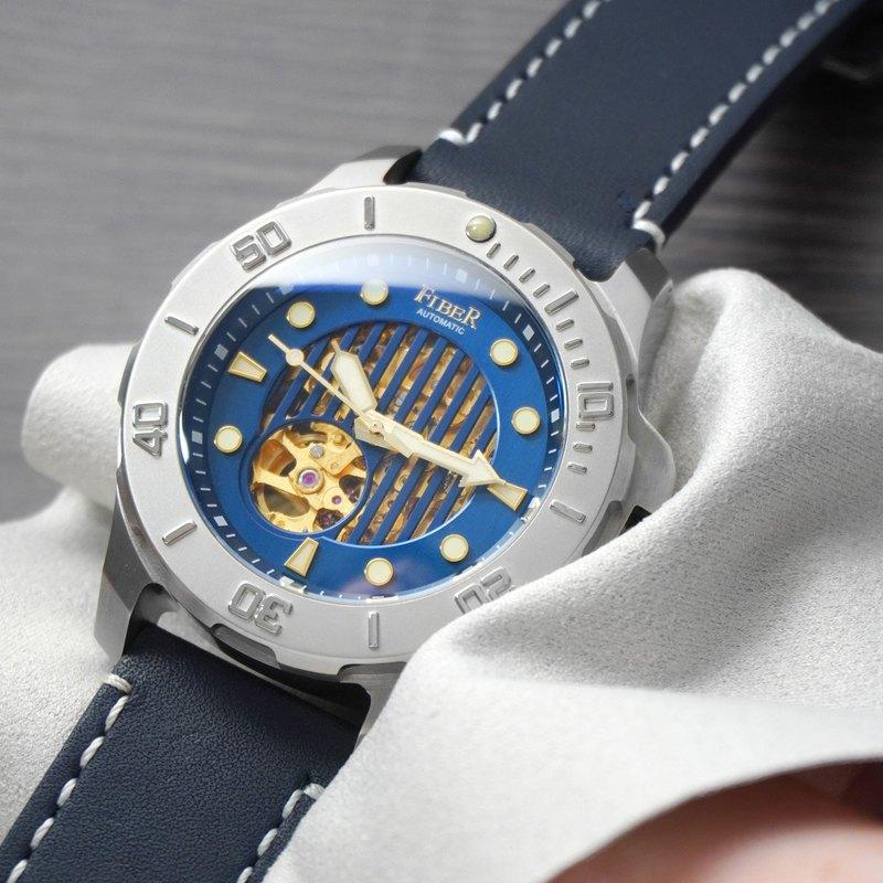 FIBER【海洋潛將系列】機械潛水錶 直紋鏤空藍