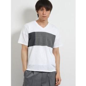 【TAKA-Q:トップス】汗染み軽減 スラブ天竺パネル切替Vネック半袖Tシャツ