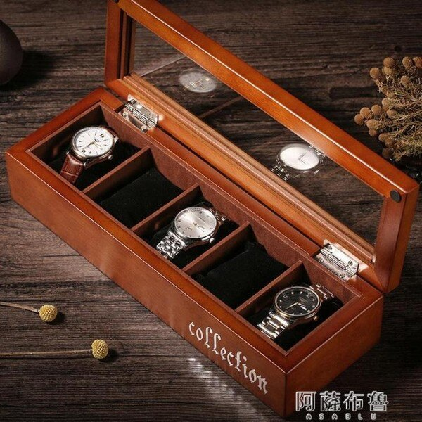 【現貨】手錶盒 木質手錶盒玻璃天窗手錶盒手串鏈首飾品木制手錶收納盒展示盒錶盒 mks  【新年禮品】