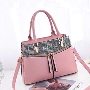 ショルダーバッグ HYFステッチチェック柄のレジャーファッションPUスラントショルダーバッグハンドバッグ(ブラック) (色 : Pink)