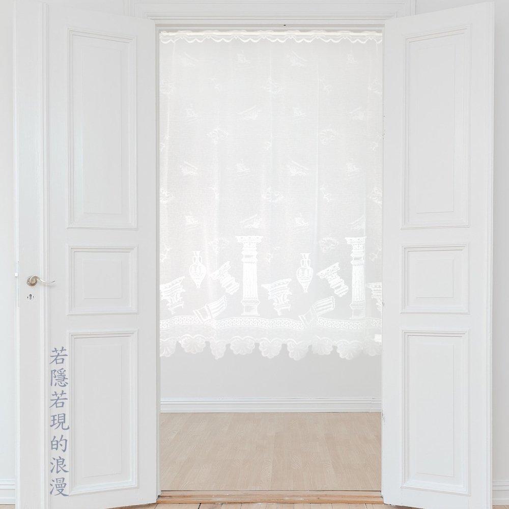【Lassley蕾絲妮】門簾紗-希臘神殿115X150(台灣製造 立體針織蕾絲窗紗 咖啡簾)