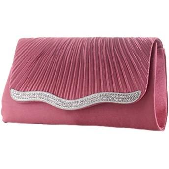 (メルロー) merlot ラインストーンプリーツシェルフラップバッグ チェリーピンク