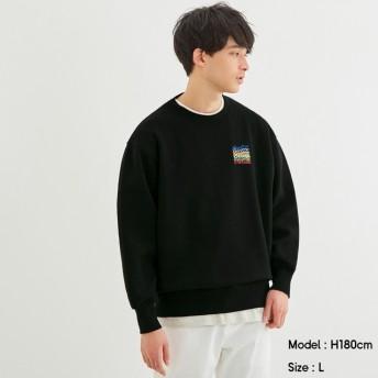 (GU)ビッグスウェットシャツ(長袖)Coca-Cola+E BLACK S