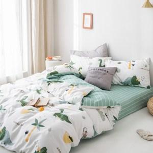 【eyah】台灣製200織精梳棉單人床包雙人被套三件組-史前樂園