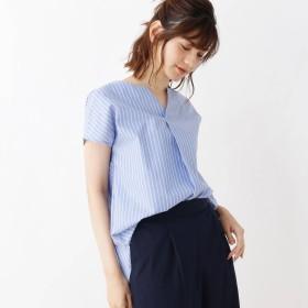 HusHusH(Ladies)(ハッシュアッシュ)/ブロード重ねキーネックシャツ