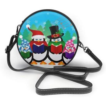ペンギンクリスマスキャロラー雪景色 レディースレザー ショルダーバッグ 多機能収納 コスメ ポーチ 携帯電話 クロスボディバッグ 軽量 撥水 シンプル かわいい ミニラウンドバッグ