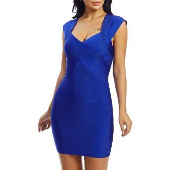 ChaPelle パーティードレス ワンピース ドレス H20223# (ブルー, S)