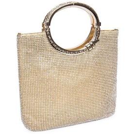 パーティーバッグ カクテルパーティーのための女性の優雅なウエディングイブニングバッグハンドバッグ結婚式の財布バッグ 結婚式 (Color : Gold)