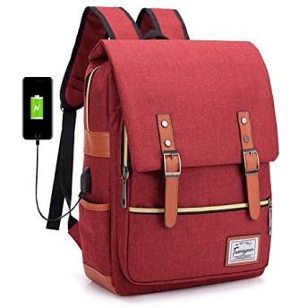 ノートパソコン用のバッグ USBクラッドバックパックコンピュータバックパックの通学 (色 : Claret)