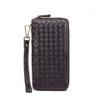 メンズ財布 レザーウォレットケース穀物ロングユニセックスビジネスハンドバッグ大容量携帯電話その他の書類パッケージショッピング用デイリーユースウォレット 多機能 大容量 (Color : Brown)