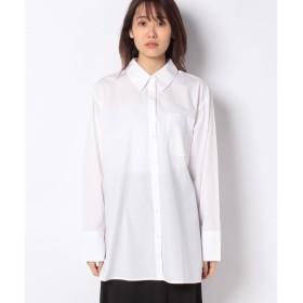 ベネトン(レディース) コットンオーバーサイズシャツ・ブラウス(ホワイト)