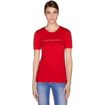 BENETTON (women) ロゴクルーネック半袖Tシャツ・カットソー(レッド)