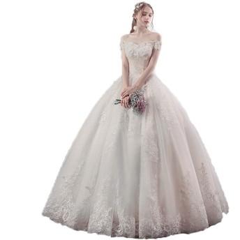 花嫁のウェディングドレス 女性のショルダーフラワーレースアップリケ床の長さの花嫁のウェディングドレスエレガントなコルセットドレスドレスパーティーパーティドレス 結婚式 フォーマル レディーズ (色 : 白, Size : XL)