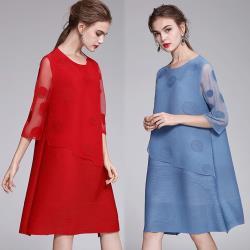 【K.W.韓國】(現貨)圓點水溶蕾絲假二件式洋裝