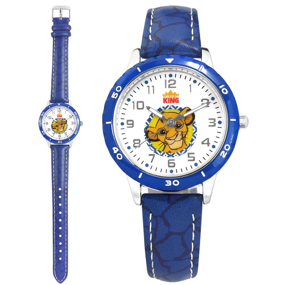 Disney 迪士尼 / MK-14132L / 獅子王 辛巴面板 兒童錶 卡通錶 紋路皮革手錶 白x藍 32mm