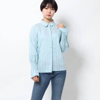 シュベック SVEC キャンディースリーブ ベルスリーブ ストライプシャツ シャツ (ブルー)