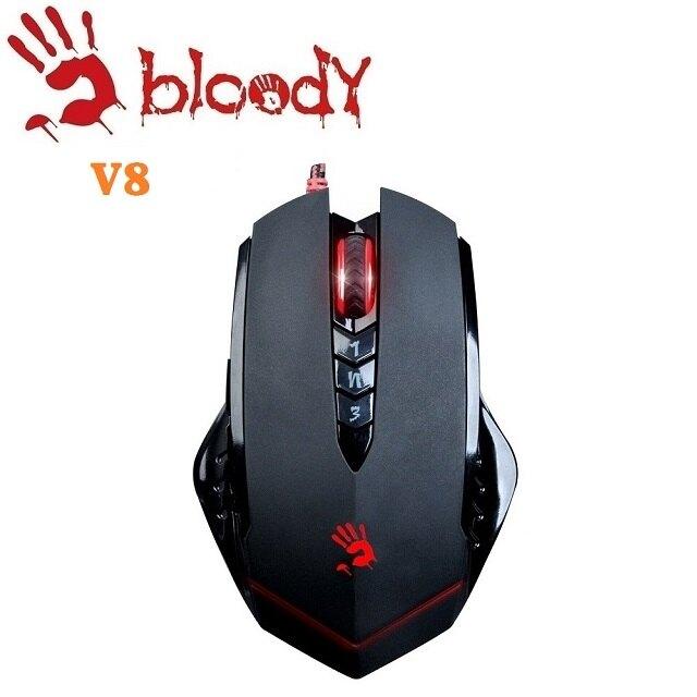 [富廉網]【A4 雙飛燕】Bloody V8 智慧.多核左三槍 電競滑鼠(送激活卡)