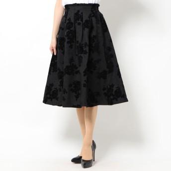 ジーラ GeeRA ドット&花柄フロッキープリントスカート (ブラック)