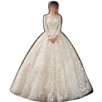Sportgosto ウェディングドレス花嫁プリンセスドリームラージサイズスレンダースリーブライトウェディングドレス (サイズ : M)