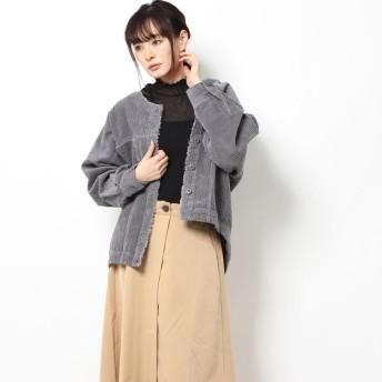 スタイルブロック STYLEBLOCK ランダムコーデュロイノーカラーコクーンシャツジャケット (グレー)