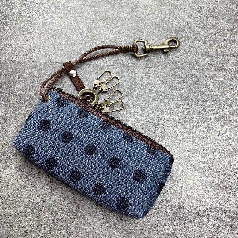 拉鍊鑰匙包 (丸織/灰藍底) 日本布 接單生產*