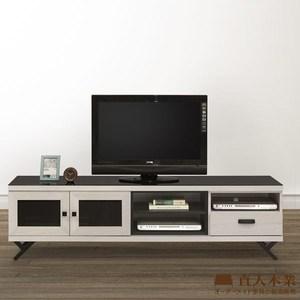 【直人木業】COCO 白橡180CM玻璃面板電視櫃