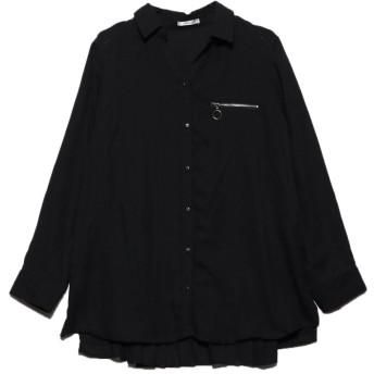 ジーラ GeeRA 後プリーツジップ付スキッパーシャツ (ブラック)