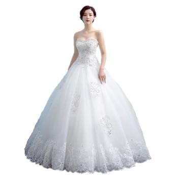 花嫁のウェディングドレス 女性ストラップレスの花のレースのクリスタルビーズのブライダルウェディングドレスの恋人の花嫁ボールガウンのドレス レディース結婚式ドレス (色 : White, Size : XL)