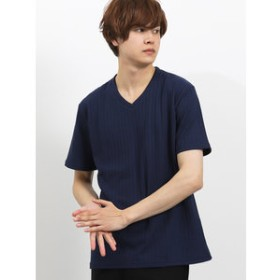 【semantic design:トップス】ケーブルジャガードVネック半袖Tシャツ