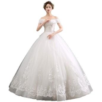 花嫁のウェディングドレス 女性オフショルダーフローラルレースアップリケブライダルウェディングドレススパンコールメッシュブライダルボールガウンドレス レディース結婚式ドレス (色 : White, Size : XXL)
