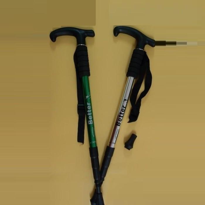 【海夫健康生活館】Tuobing 彎把 鋁合金 四節 避震 登山杖 手杖