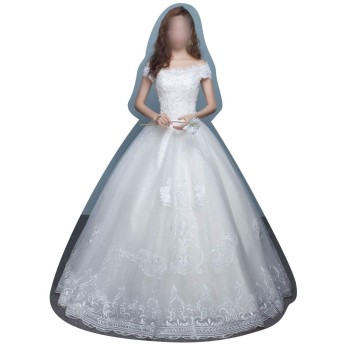 Sportgosto ウェディングドレスホワイトVネックの襟は薄い (サイズ : L)