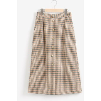NIMES/ニーム チェックセミタイトスカート カーキ×エクリュ 1