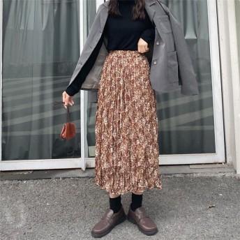 秋冬 新しいデザイン 日系風 普段着 スカート 通学 通勤 何でも似合う 伸縮性 ハイウエストスカート フローラル裾 女性服