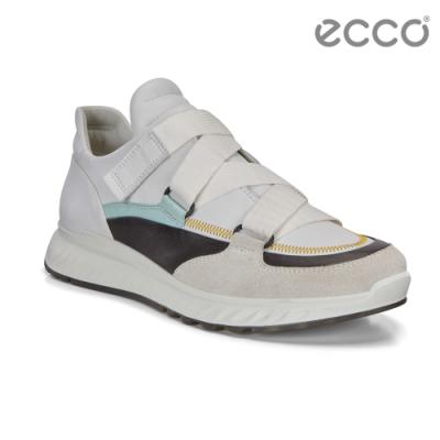 ECCO ST.1 W 舒適動能街頭風運動休閒鞋 女-白/黑/粉綠