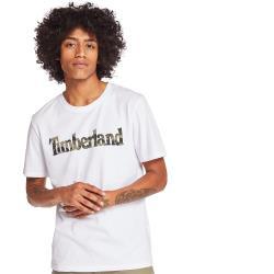 Timberland 男款白色品牌英文短袖圓領T恤A2B4G100