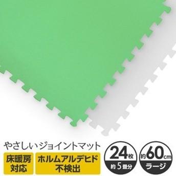 ds-2262154 やさしいジョイントマット 約4.5畳(24枚入)本体 ラージサイズ(60cm×60cm) ミント×ホワイト 〔大判 クッションマット 床
