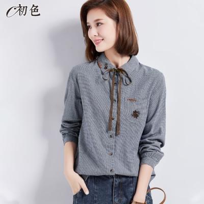 初色  刺繡綁帶格子襯衫-藏藍格-(M-2XL可選)