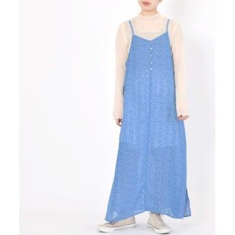 (w closet/ダブルクローゼット)小花柄スリット入りキャミワンピース/レディース ブルー