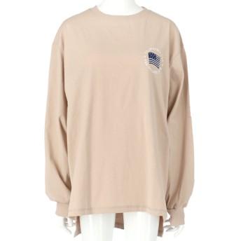anap mimpi ビッグシルエット刺繍ロングTシャツ(ベージュ)
