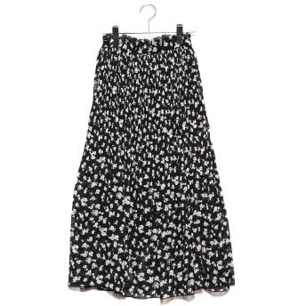 ジーラ GeeRA 裾消しプリーツロングスカート (ブラック地花柄)