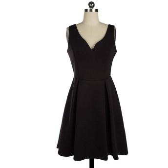 Jtydj 女性のVネックノースリーブイブニングカクテルMniドレス (色 : ブラック, サイズ : L)