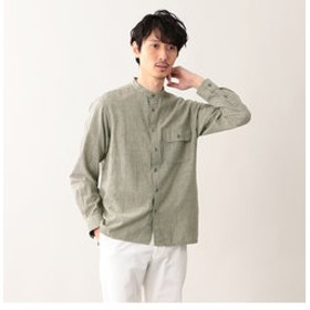 【MACKINTOSH PHILOSOPHY:トップス】シャンブレーストライプ バンドカラーシャツ