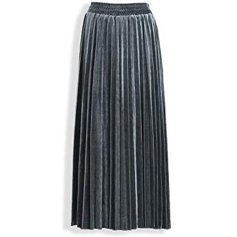 女性の伸縮性スカート ミッドレングススカート、ヨーロッパやアメリカのハイウエスト、エレガントなハーフ丈スカート、プリーツスカート (Color : Gray, Size : M)