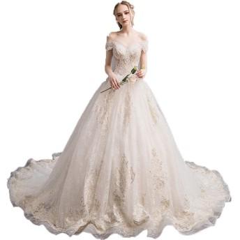 ウェディングドレス ドレス 結婚式 女性オフショルダーフローラルレースアップリケスイープトレインブライダルガウンのウェディングドレスロングテールスリムレトロな花嫁のドレス ウエディングドレス 披露宴 花嫁衣装 (Color : Champagne, Size : M)
